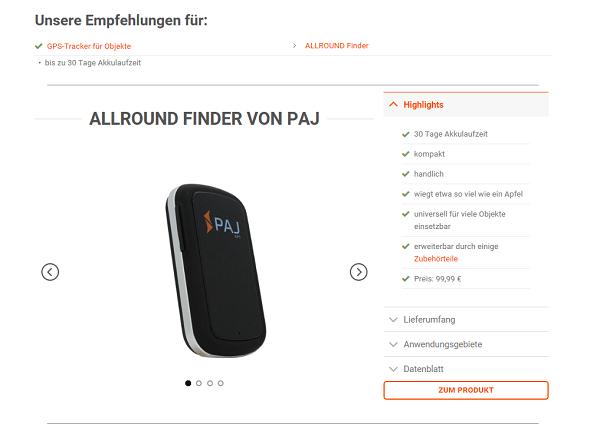 Online Kaufberatung PAJ - Kaufempfehlung Beispiel