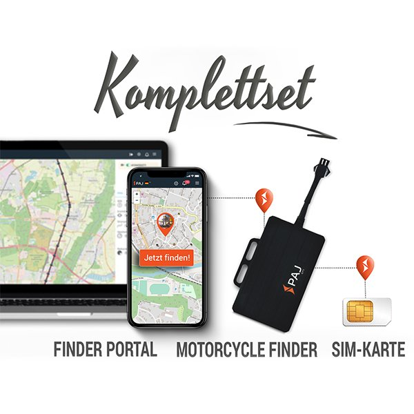 collage komplettset motorcycle finder paj - LP Ratgeber GPS Tracker
