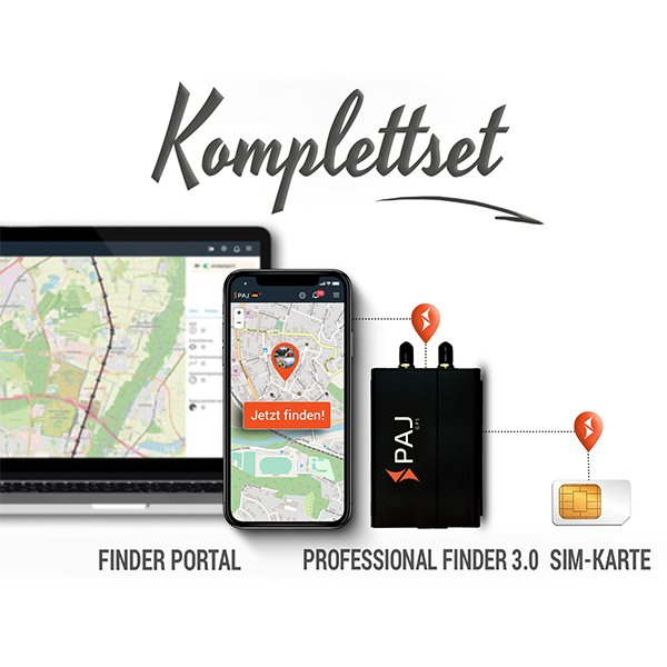 collage komplettset professional finder 3.0 paj - LP Ratgeber GPS Tracker