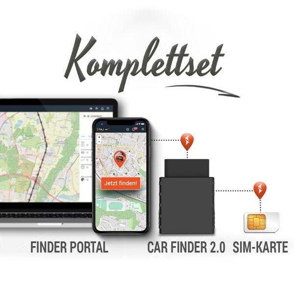collage komplettset car finder 2.0 paj - LP Ratgeber GPS Tracker