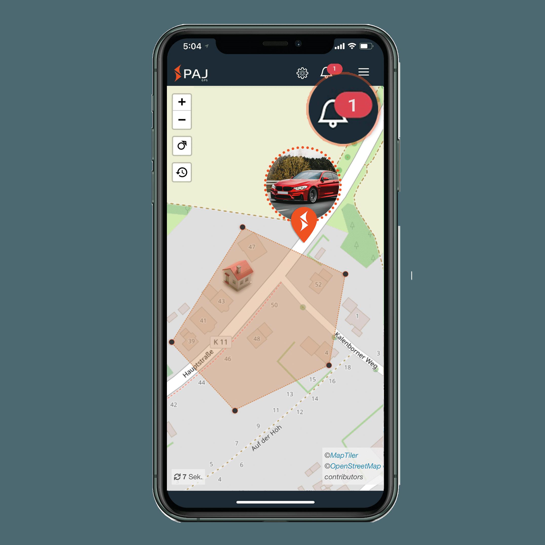 mock up anwendungsgebiet gps tracker auto radius alarm - AG GPS Tracker Auto