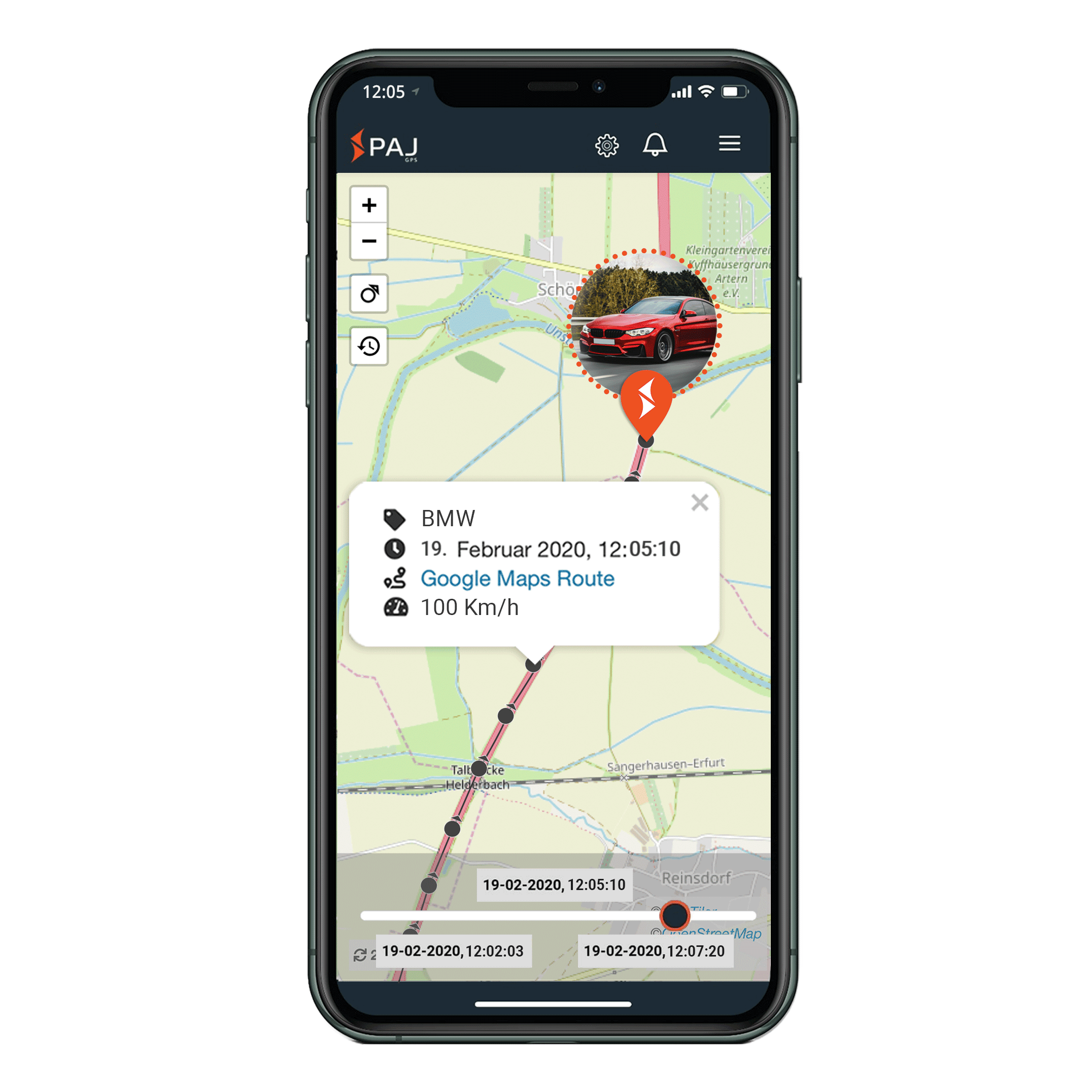 mock up anwendungsgebiet gps tracker auto streckenspeicherung - AG GPS Tracker Auto