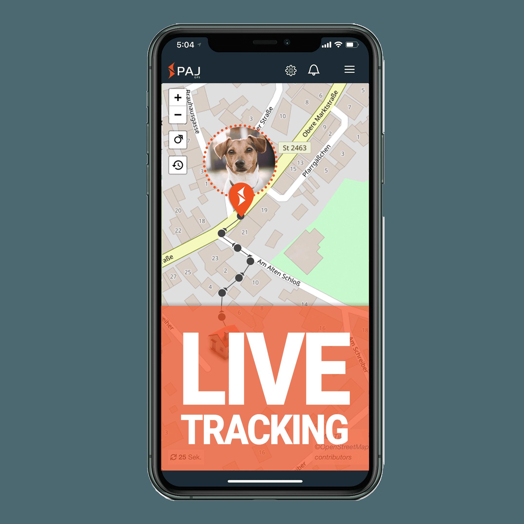 mock up anwendungsgebiet gps tracker hund live tracking - AG GPS Tracker für Hunde