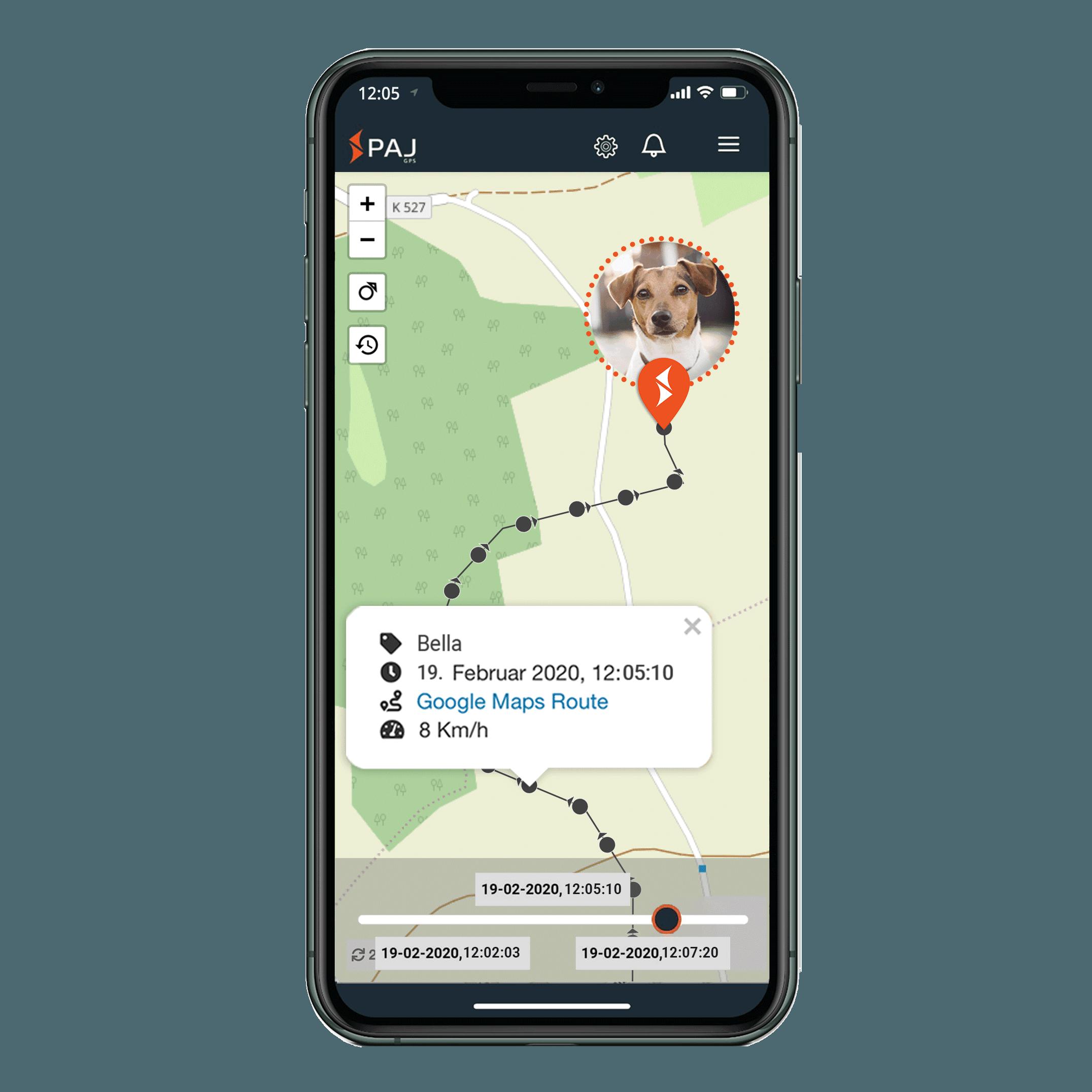 mock up anwendungsgebiet gps tracker hund streckenspeicherung - AG GPS Tracker für Hunde