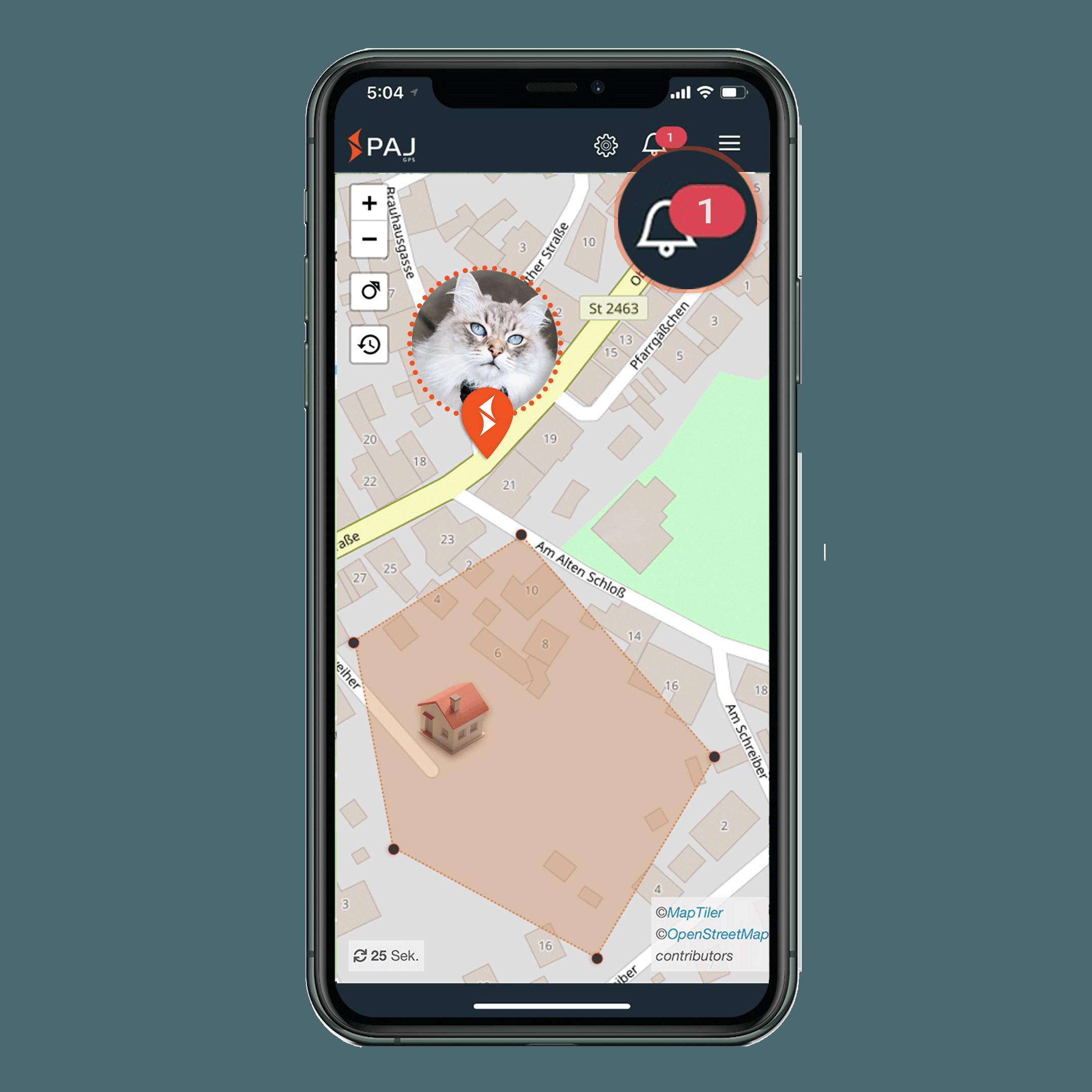 mock up anwendungsgebiet gps tracker katze radius alarm - AG GPS Tracker für Katzen