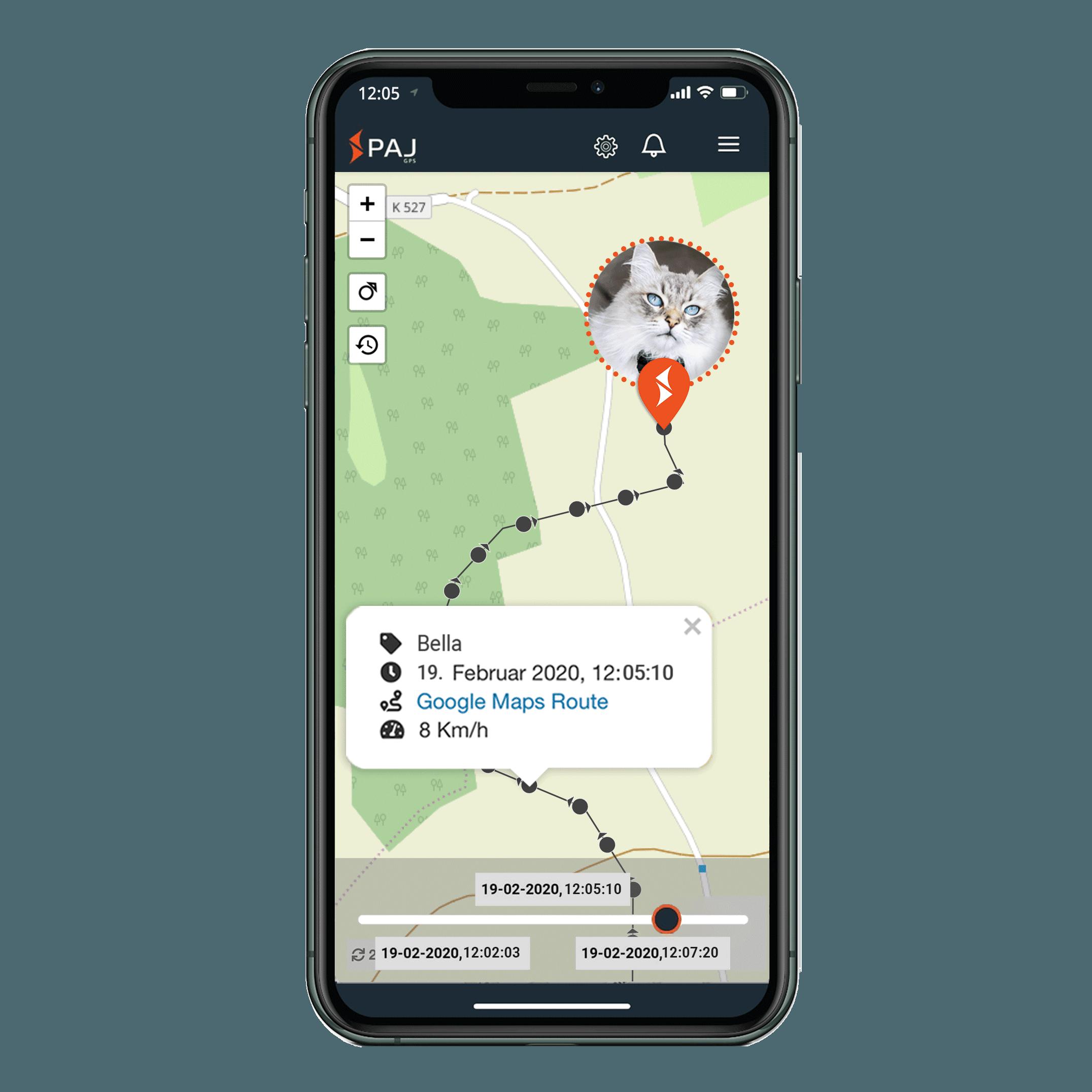 mock up anwendungsgebiet gps tracker katze streckenspeicherung - AG GPS Tracker für Katzen
