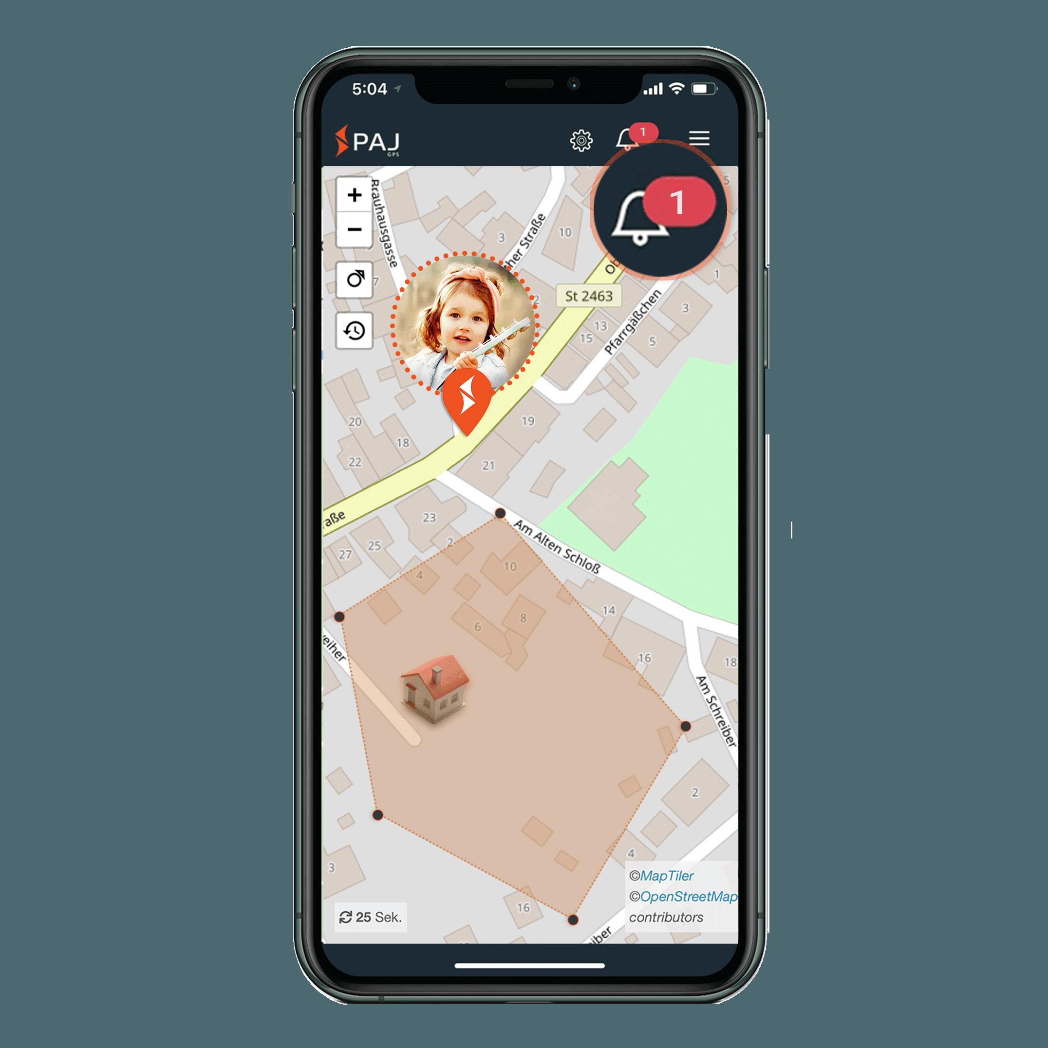 mock up anwendungsgebiet gps tracker kind radius alarm - LP Personenortung