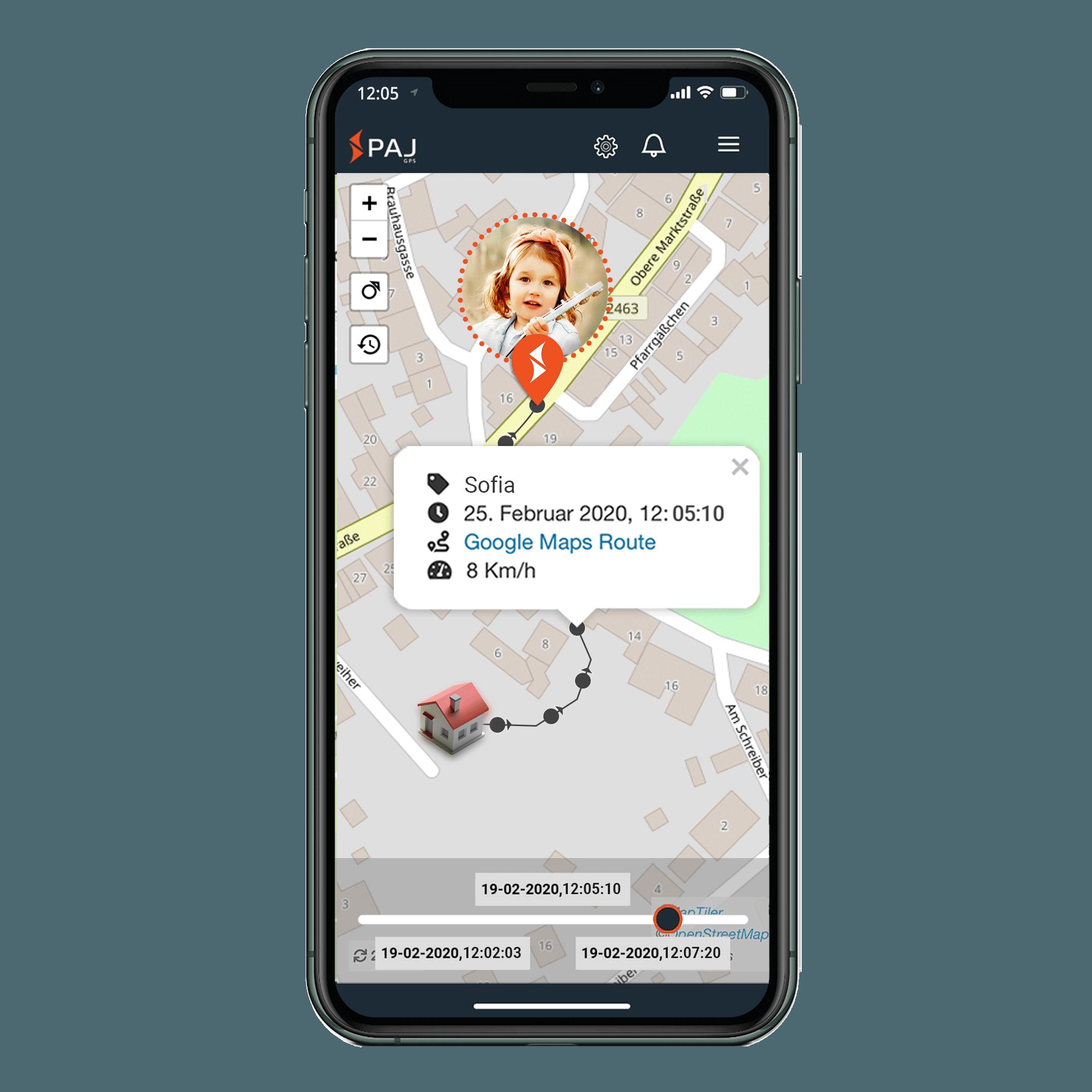 mock up anwendungsgebiet gps tracker kind streckenspeicherung - AG GPS Tracker für Kinder