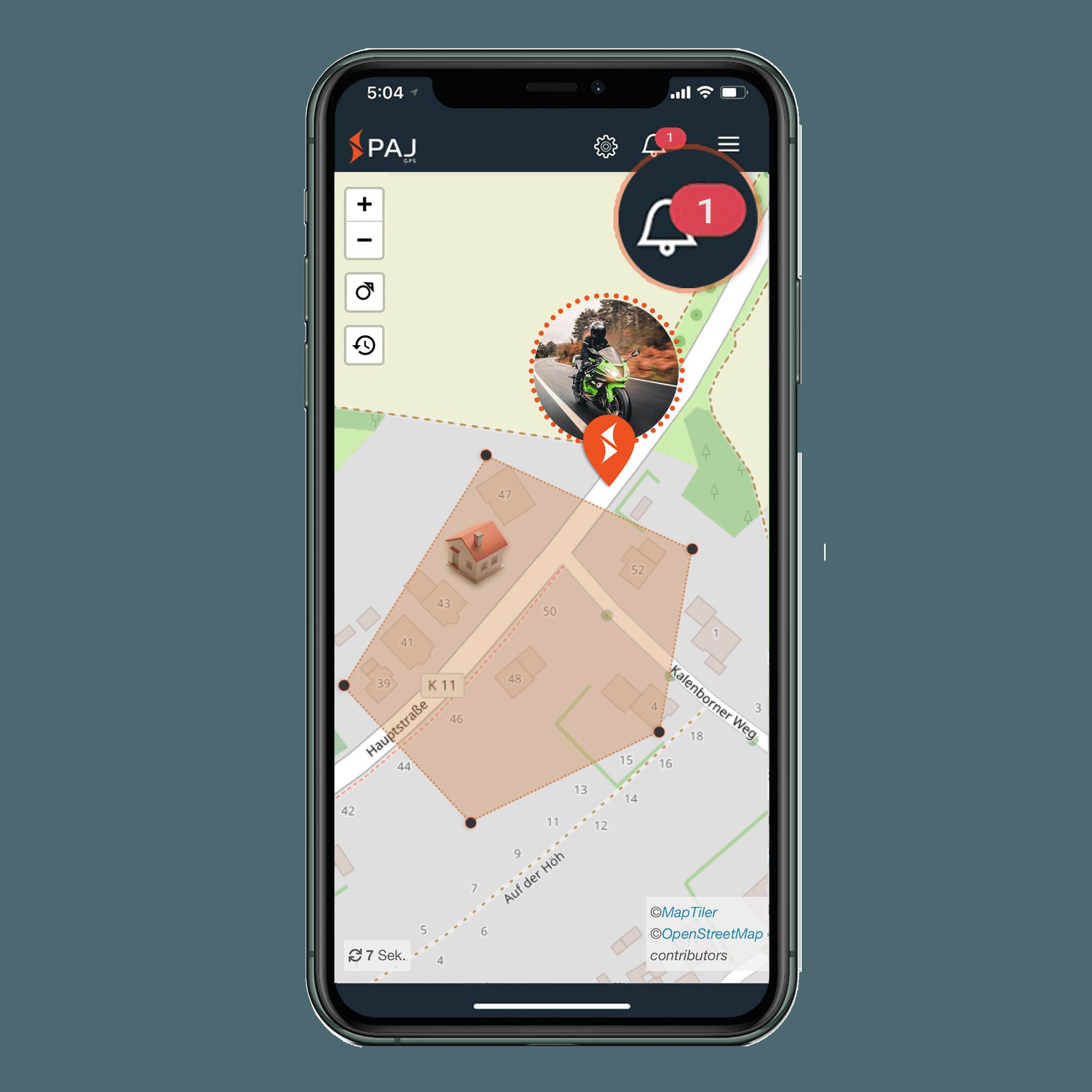 mock up anwendungsgebiet gps tracker motorrad radius alarm - AG GPS Tracker Motorrad