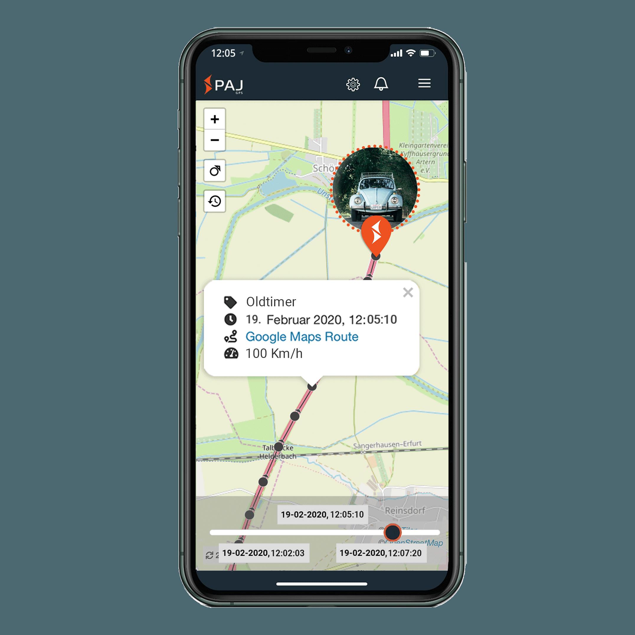 mock up anwendungsgebiet gps tracker oldtimer streckenspeicherung - AG GPS Tracker Oldtimer