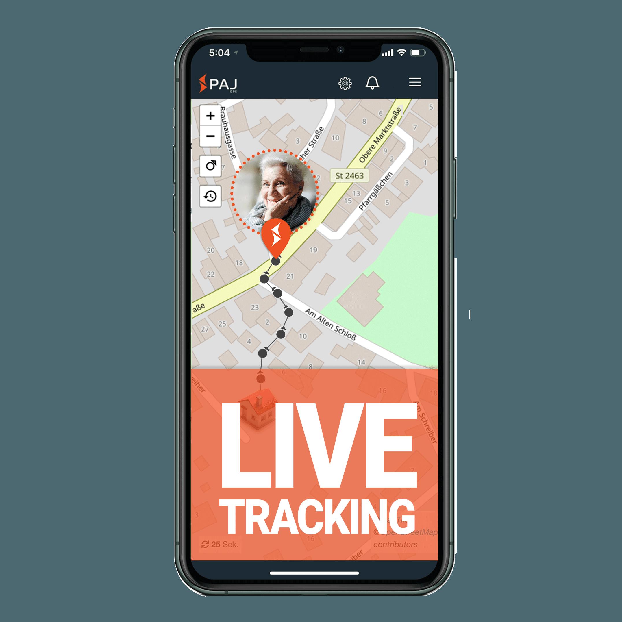 mock up anwendungsgebiet gps tracker senioren live tracking - AG GPS Tracker für Senioren