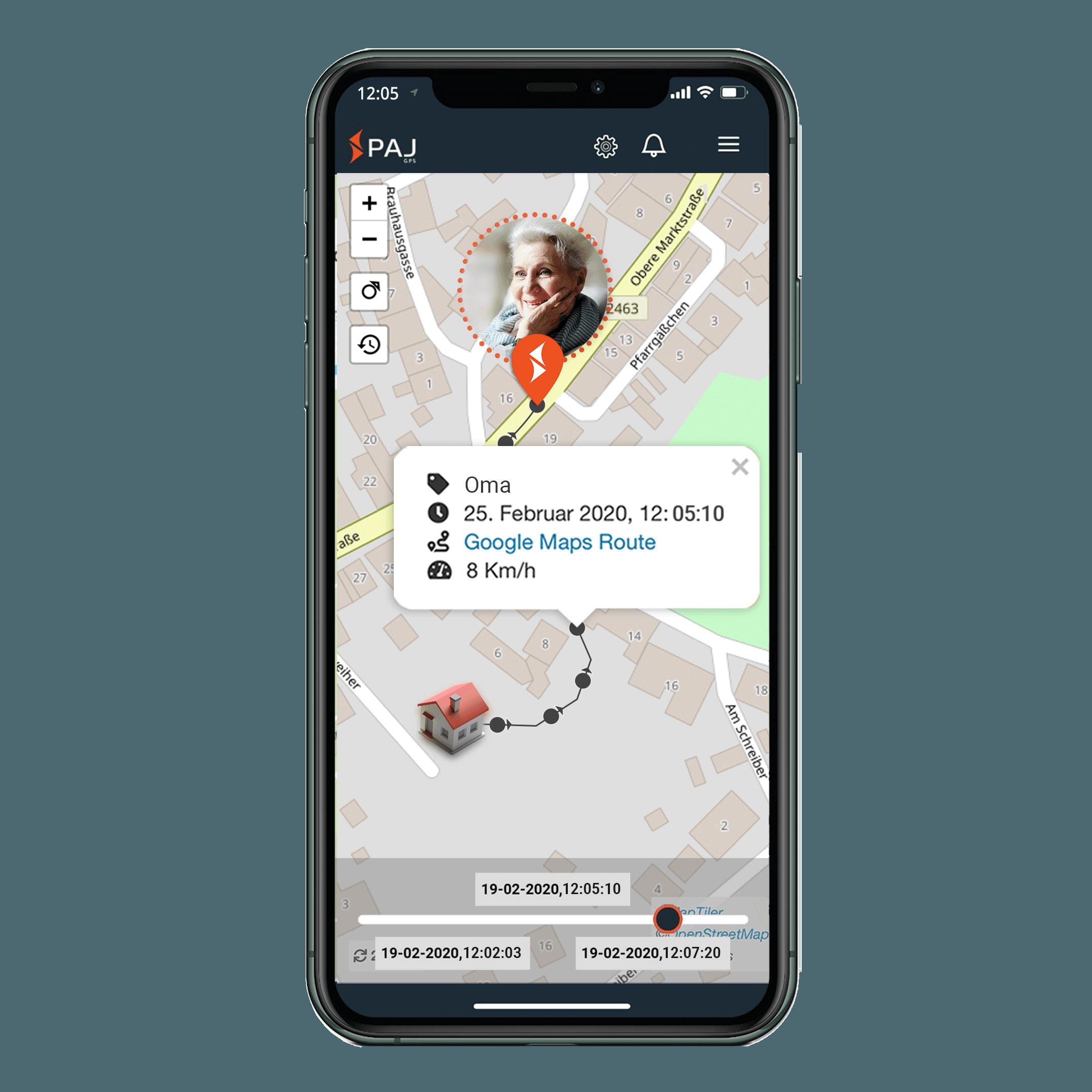 mock up anwendungsgebiet gps tracker senioren streckenspeicherung - LP Personenortung